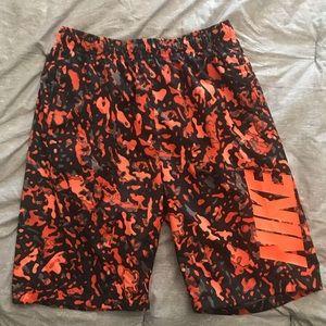 Men's Nike Orange Camo Print Swim Trunks